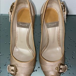 BALDAN Leather with Gold Platform Heels Size 36.5